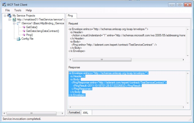 Ping operation from metadata in the WCF Test Client